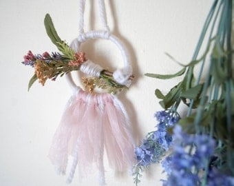 The BELTANE witchmobile dreamcatcher (pink tulle)