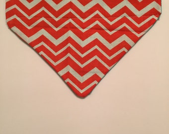 Redorange Chevron Pocket Collar Bandana