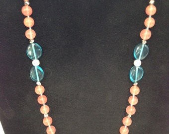 Salmon and Turquoise Necklace