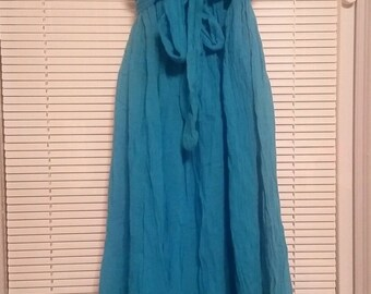Vintage 70's Strapless Ruffle Peasant Hippie Dress Cotton Gauze  - Small