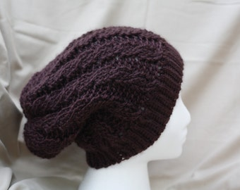 Crochet Cable Stitch Slouchy Beanie Hat