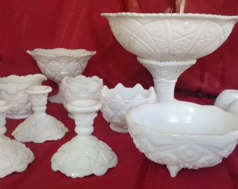 Milk Glass  Punch Bowl  Punch Cups  Candlestick holders   Creamer and Sugar  Bowls  Footed compote  Vintage  Weddings  Receptions  31 pieces