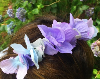 purple hydrangea flower headband