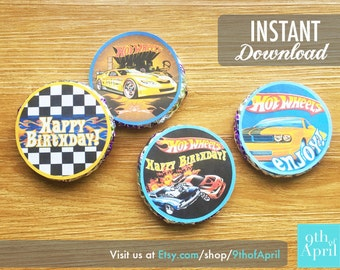 Hot Wheels Cupcake Toppers // INSTANT DOWNLOAD