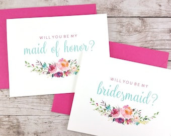 SET OF Will You Be My Bridesmaid Cards, Maid of Honor Cards, Flower Girl Cards, Matron of Honor Cards - (FPS0021)