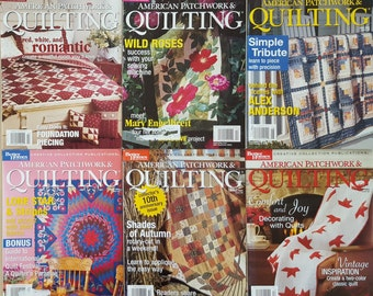 "6 Quilt Magazines, "" American Patchwork & Quilting"", 2003 Complete Year, Back Issues, OOP, Quilt Patterns"