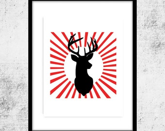 Pop Art Deer, Buck Art, Modern Art, Buck Print, Red Sun Print, Deer Art,