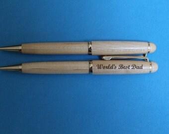 World's Best Dad Laser Engraved Maple or Rosewood Pen