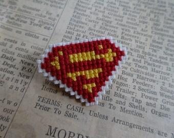 Superman cross stitch pin DC collectible