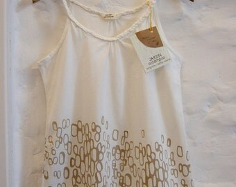 top with braided straps - organic cotton - natural stamp dyed with yerba mate leaves
