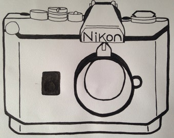 "Nikon Camera Black and White Line Drawing Illustration Print - 5x7"""