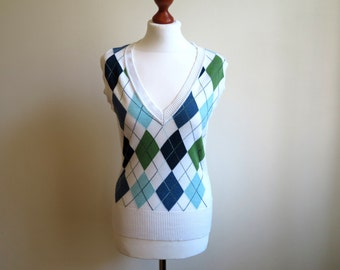 White Vest Womens Polo Vest Plaid Front Polo Shirt Sleevelees Top Stretchy Polo Vest Size M - L