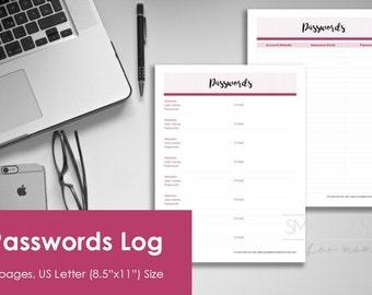 Password printable log. Password list for planner, 2 designs. US Letter Size. Instant download. PDF & JPEG format. High resolution 300dpi