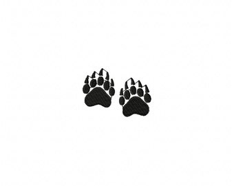 Mini bear tracks embroidery design, bear tracks embroidery design, animal track embroidery design,