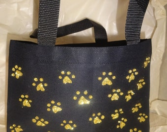 Gold Paw Print Tote Bag