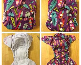 Purple w/ Feathers Cloth Diaper