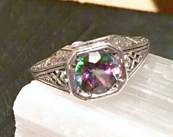 Vintage 1CT Mystic Topaz 925 Solid Sterling Silver Antique Style Filigree Ring Sz 7  B1/G1 1/2 OFF All Rings