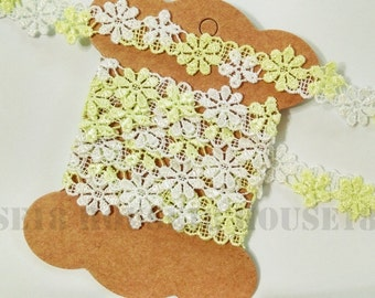 3 Yards Daisy Lace Trim Flower Floral Embroidered Lace Trim Ribbon | Headband | Clothing | Dress | Wedding | DIY Projects | Craft Supplies