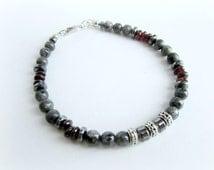 Mens gemstone beaded bracelet, mens larvikite bracelet, men garnet bracelet, gray stone men bracelet, red gray men bracelet, italian jewelry