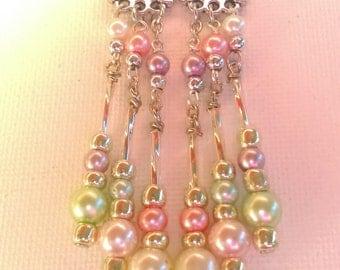 Multi colored pearl chandelier earrings
