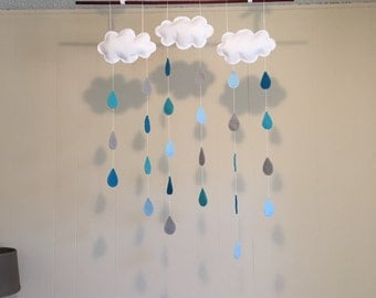 Felt Clouds and Raindrops Baby Mobile for Nursery