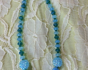 """Jewelry Necklace - 15"""" Blue green beaded necklace FREE SHIPPING"""