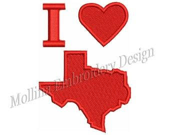 I Love Texas Machine Embroidery Design 5 Size