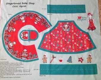 Christmas Gingerbread Child Apron Panel