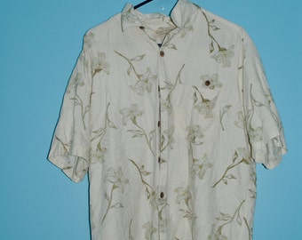 Hawaiian floral shirt.  size: medium / large