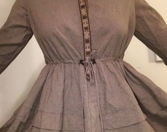 Brown Western Style 70s Dress