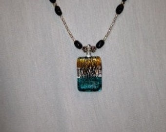 Glass Pendent with Silver and Black Beads