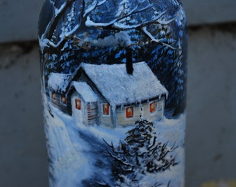 Painted Wine Bottle- Winter Cabin Scene