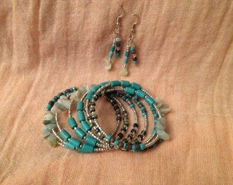 Turquoise Spiral Bracelet and Earring Set