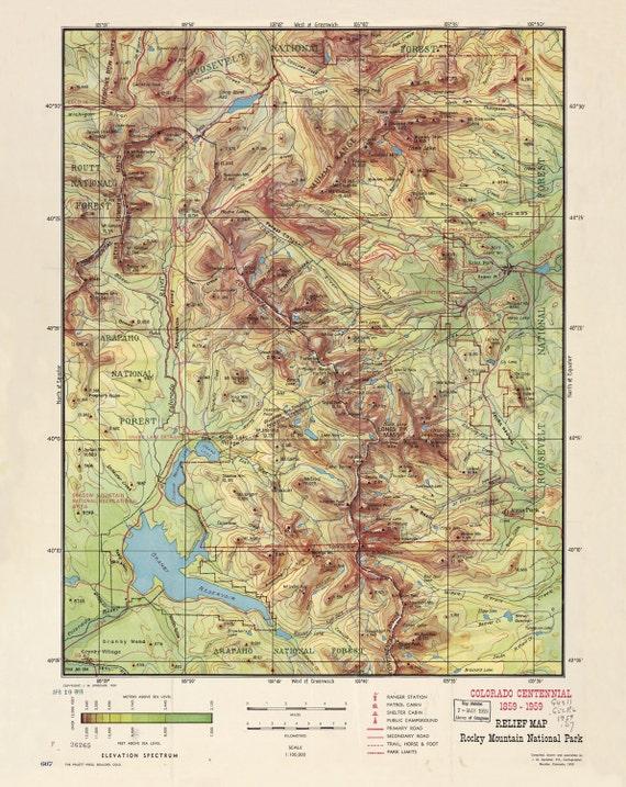 Map Of Rocky Mountain Estes Park Antique 1959 U S National Parks Colorado Estes Park 8x10 11x14