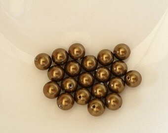 20pcs 6mm Swarovski Antique Brass Round Pearls- 6mm Brass Pearls- Swarovski 5810- Item ABP6R