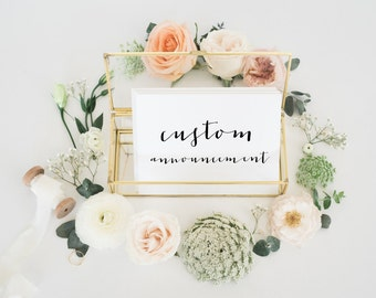 custom wedding announcement or save the date