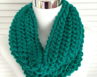 Teal Knitted Infinity Cowl Scarf