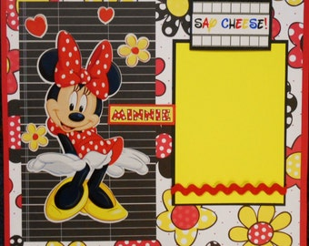 """Minnie """"Say Cheese"""" 12x12 Premade Scrapbook Page"""