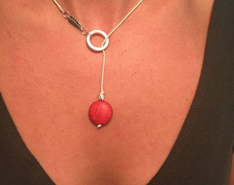White, Silver and Coral Necklace