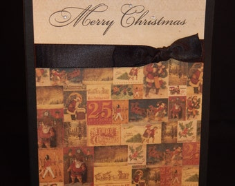 Hand Stamped – Made Christmas Card – Merry Christmas - Black
