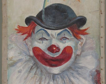 Vintage Clown Canvas Painting