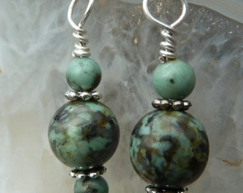 Hand made, semi precious African turquoise Jasper gemstone bead and Sterling silver drop earrings