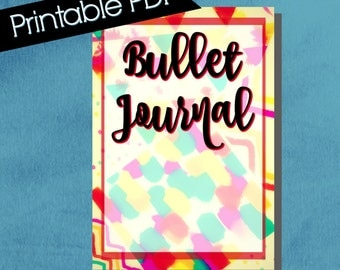 Bullet Journal Cover, composition notebook cover, printable, notebook cover, bullet journal accessories, colorful, multi pattern, red