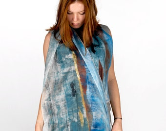 Hand painted Maroon and Blue silk scarf,  illustrated lava rocks and boat