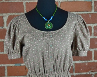 Vintage 1970s Brown and Floral Prairie Dress by Items California Sz 10