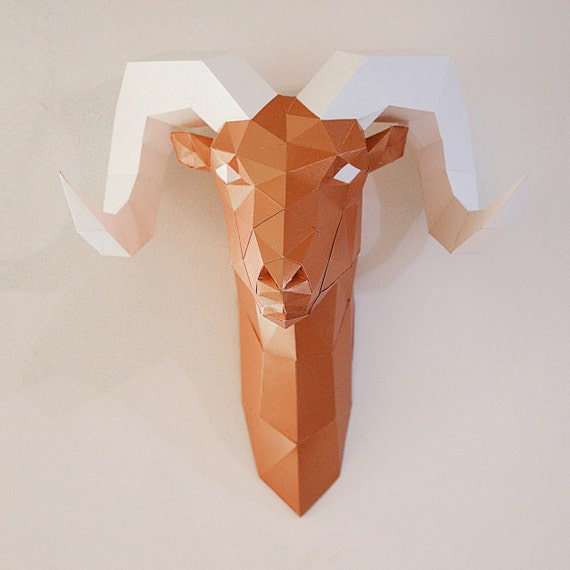 free cardboard taxidermy templates - ram paper head trophy home decor faux taxidermy diy