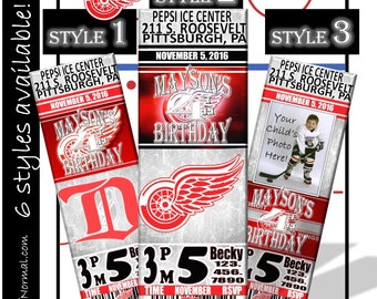 SALE! Detroit Red Wings Birthday Invitation Tickets - Hockey Birthday Invitations - Personalized and customized