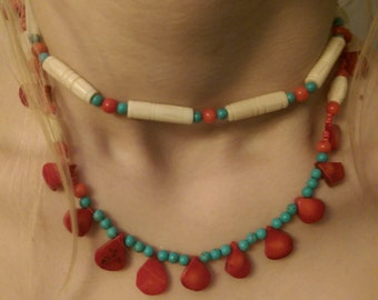 Red Coral, Turquoise and Bone Choker