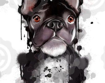 French Bulldog ( black) art