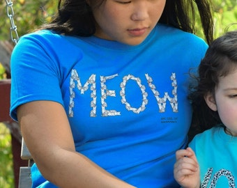 MEOW Youth Tee - Cat Tshirt - Kid's Cat Tee - Toddler Cat Shirt - Cat Gift - Kid's Cat Shirt - One Cool Cat - Children's Gift - 100% Cotton